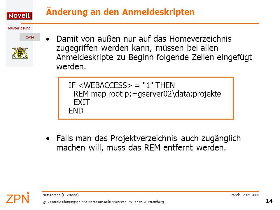 © Zentrale Planungsgruppe Netze am Kultusministerium Baden-Württemberg Musterlösung Stand: 12.05.2004 14 NetStorage (F. Wrede) Änderung an den Anmelde