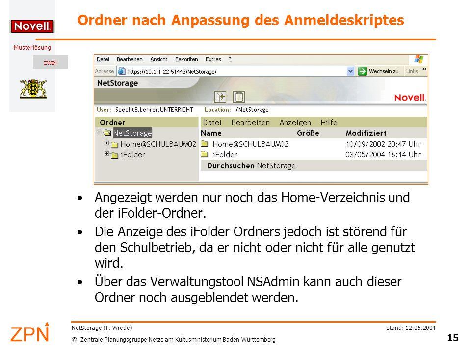 © Zentrale Planungsgruppe Netze am Kultusministerium Baden-Württemberg Musterlösung Stand: 12.05.2004 15 NetStorage (F. Wrede) Ordner nach Anpassung d