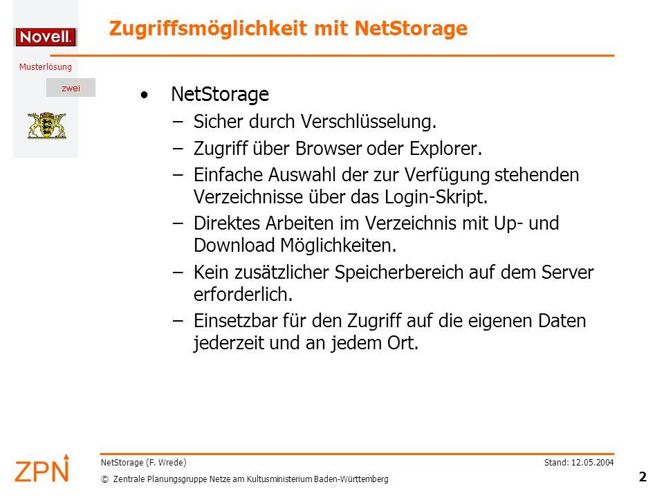© Zentrale Planungsgruppe Netze am Kultusministerium Baden-Württemberg Musterlösung Stand: 12.05.2004 2 NetStorage (F. Wrede) Zugriffsmöglichkeit mit