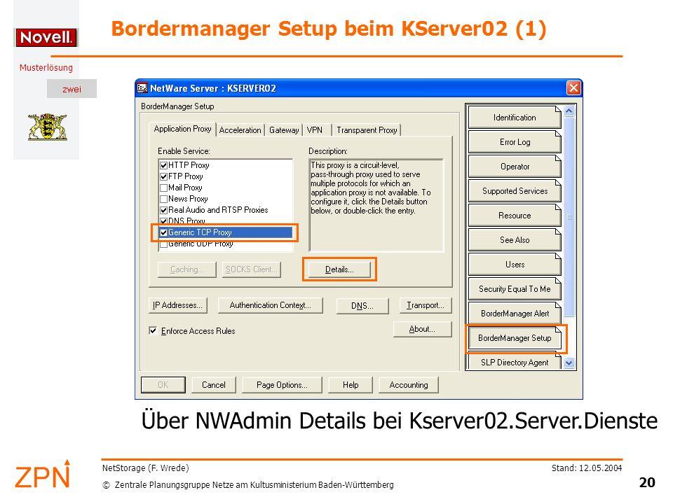 © Zentrale Planungsgruppe Netze am Kultusministerium Baden-Württemberg Musterlösung Stand: 12.05.2004 20 NetStorage (F. Wrede) Bordermanager Setup bei