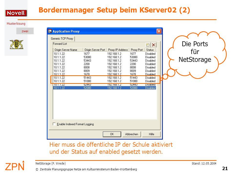 © Zentrale Planungsgruppe Netze am Kultusministerium Baden-Württemberg Musterlösung Stand: 12.05.2004 21 NetStorage (F. Wrede) Bordermanager Setup bei