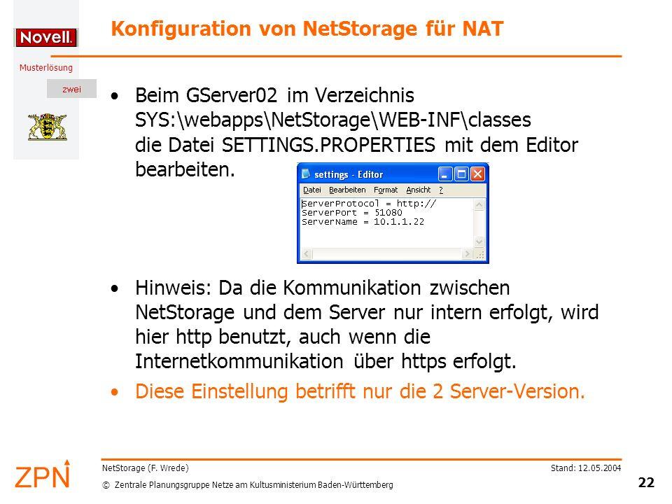 © Zentrale Planungsgruppe Netze am Kultusministerium Baden-Württemberg Musterlösung Stand: 12.05.2004 22 NetStorage (F. Wrede) Konfiguration von NetSt