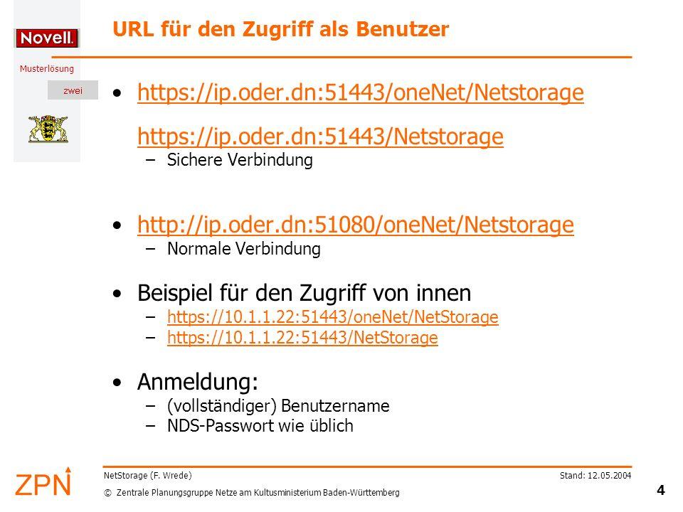 © Zentrale Planungsgruppe Netze am Kultusministerium Baden-Württemberg Musterlösung Stand: 12.05.2004 4 NetStorage (F. Wrede) URL für den Zugriff als