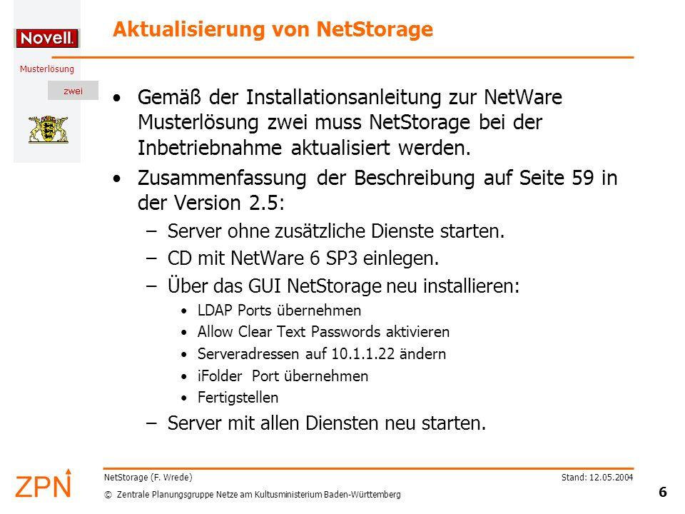© Zentrale Planungsgruppe Netze am Kultusministerium Baden-Württemberg Musterlösung Stand: 12.05.2004 6 NetStorage (F. Wrede) Aktualisierung von NetSt