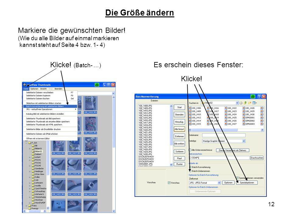 12 Klicke! (Batch- …) Die Größe ändern Es erschein dieses Fenster: Klicke! Markiere die gewünschten Bilder! (Wie du alle Bilder auf einmal markieren k