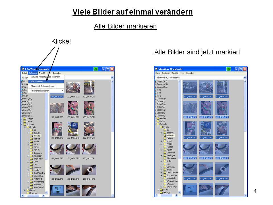 4 Alle Bilder markieren Klicke! Alle Bilder sind jetzt markiert Viele Bilder auf einmal verändern