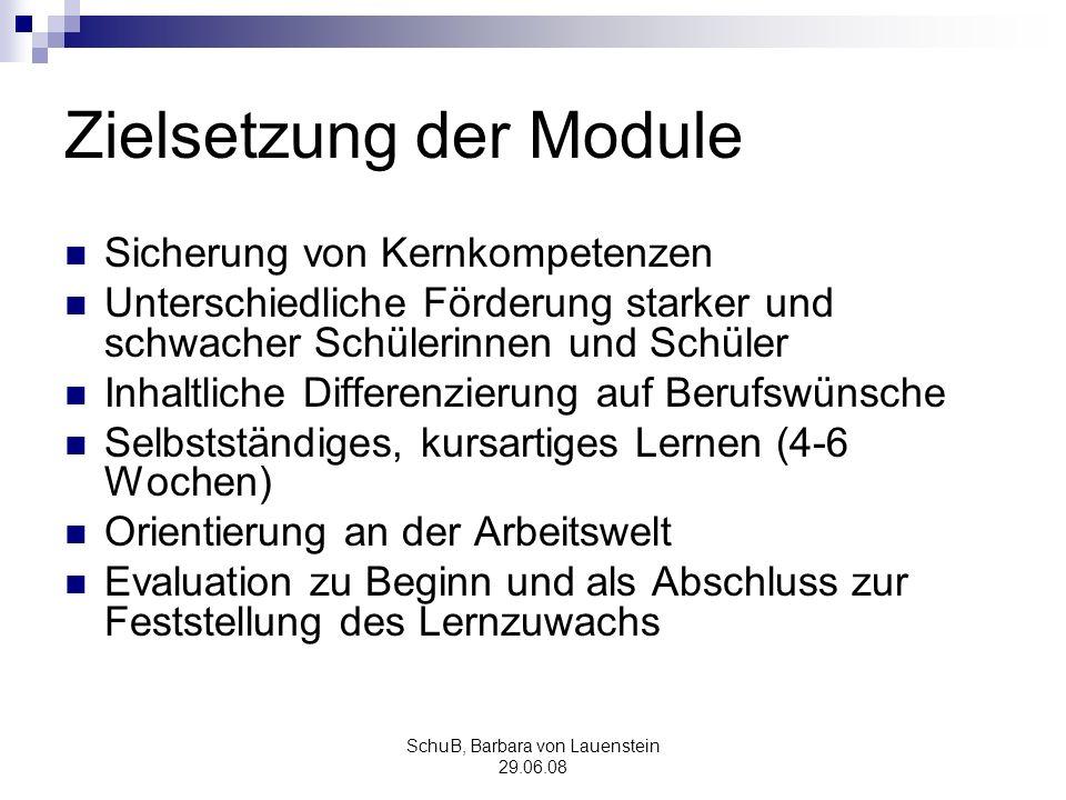 SchuB, Barbara von Lauenstein 29.06.08 Zielsetzung der Module Sicherung von Kernkompetenzen Unterschiedliche Förderung starker und schwacher Schülerin