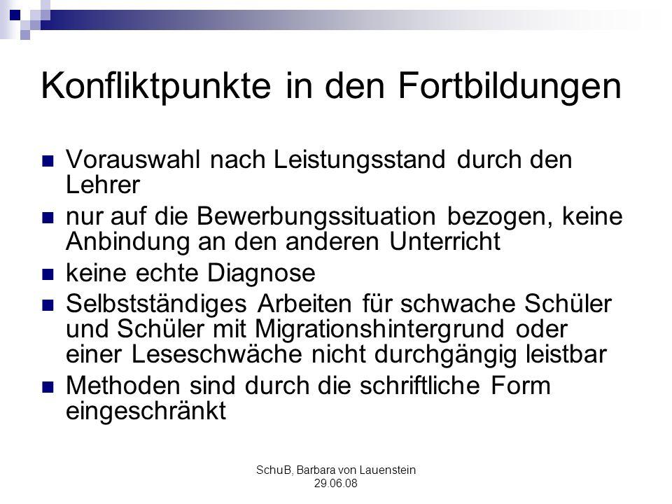 SchuB, Barbara von Lauenstein 29.06.08 Konfliktpunkte in den Fortbildungen Vorauswahl nach Leistungsstand durch den Lehrer nur auf die Bewerbungssitua