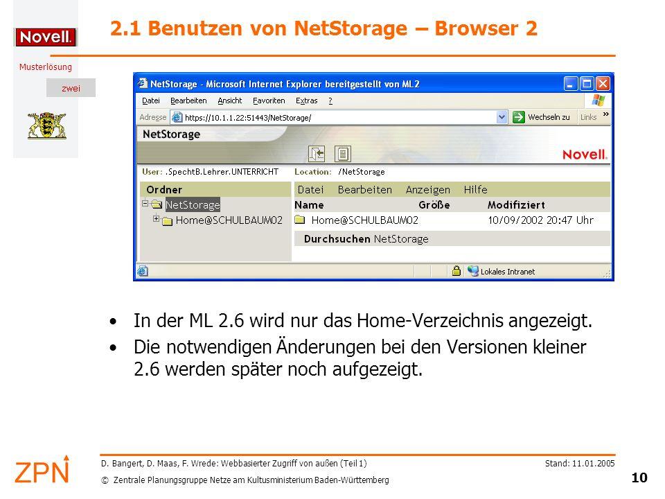 © Zentrale Planungsgruppe Netze am Kultusministerium Baden-Württemberg Musterlösung Stand: 11.01.2005 10 D. Bangert, D. Maas, F. Wrede: Webbasierter Z