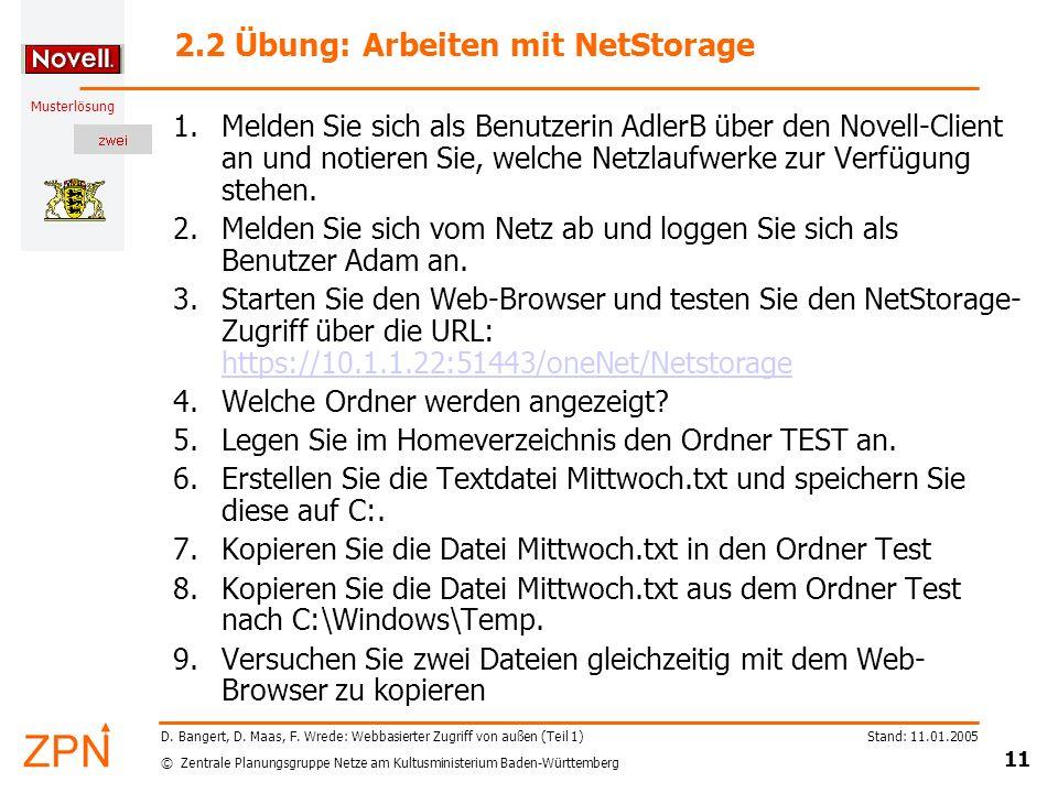 © Zentrale Planungsgruppe Netze am Kultusministerium Baden-Württemberg Musterlösung Stand: 11.01.2005 11 D. Bangert, D. Maas, F. Wrede: Webbasierter Z