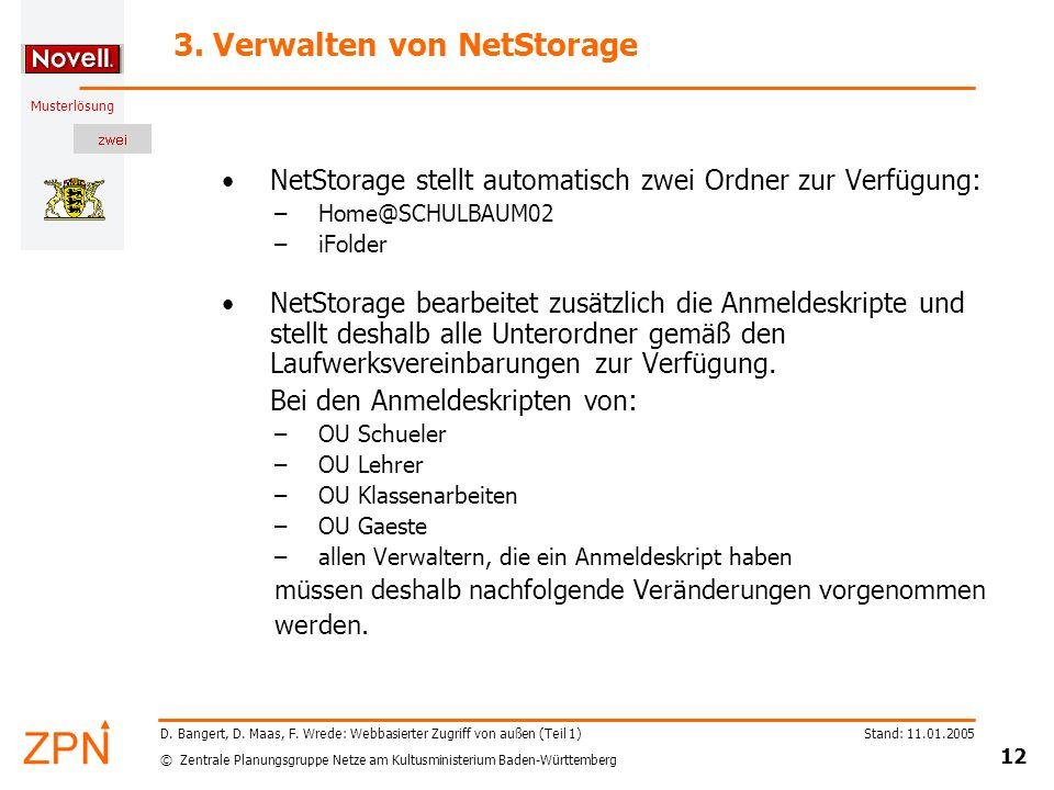 © Zentrale Planungsgruppe Netze am Kultusministerium Baden-Württemberg Musterlösung Stand: 11.01.2005 12 D. Bangert, D. Maas, F. Wrede: Webbasierter Z