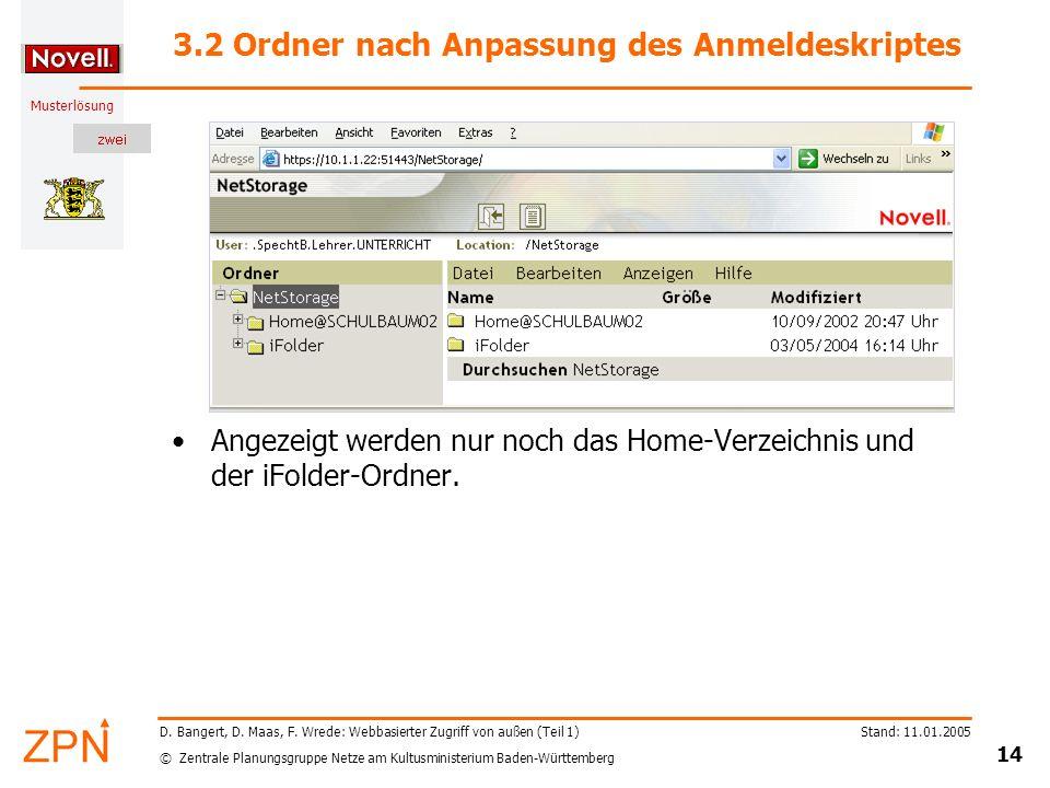 © Zentrale Planungsgruppe Netze am Kultusministerium Baden-Württemberg Musterlösung Stand: 11.01.2005 14 D. Bangert, D. Maas, F. Wrede: Webbasierter Z