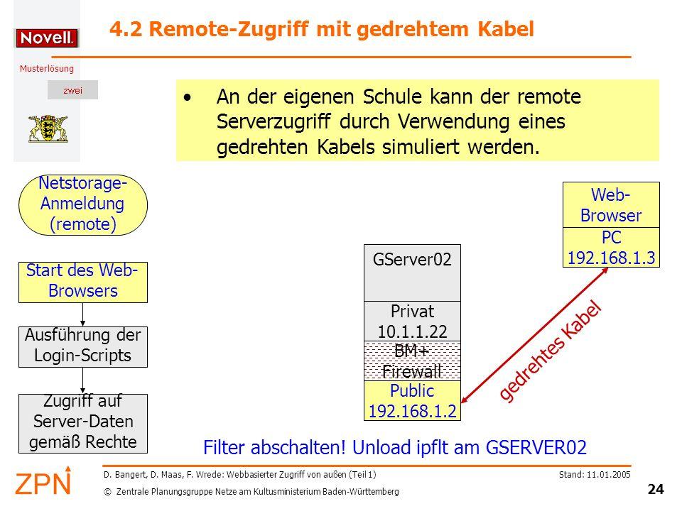 © Zentrale Planungsgruppe Netze am Kultusministerium Baden-Württemberg Musterlösung Stand: 11.01.2005 24 D. Bangert, D. Maas, F. Wrede: Webbasierter Z