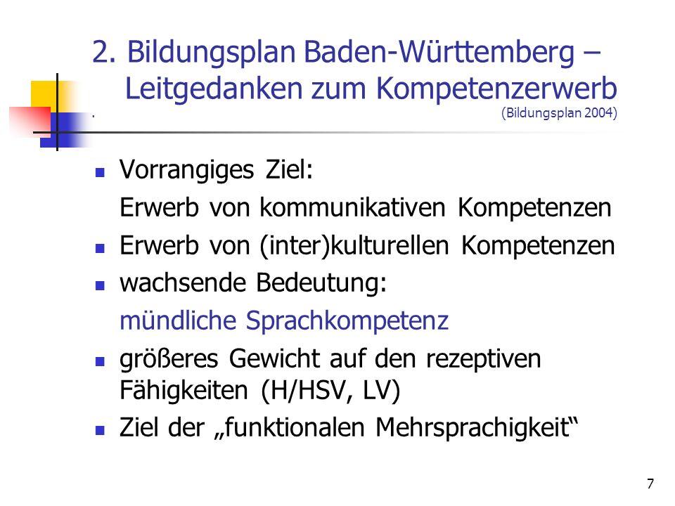 7 2. Bildungsplan Baden-Württemberg – Leitgedanken zum Kompetenzerwerb. (Bildungsplan 2004) Vorrangiges Ziel: Erwerb von kommunikativen Kompetenzen Er