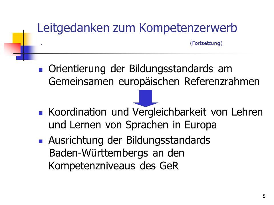 8 Leitgedanken zum Kompetenzerwerb. (Fortsetzung) Orientierung der Bildungsstandards am Gemeinsamen europäischen Referenzrahmen Koordination und Vergl
