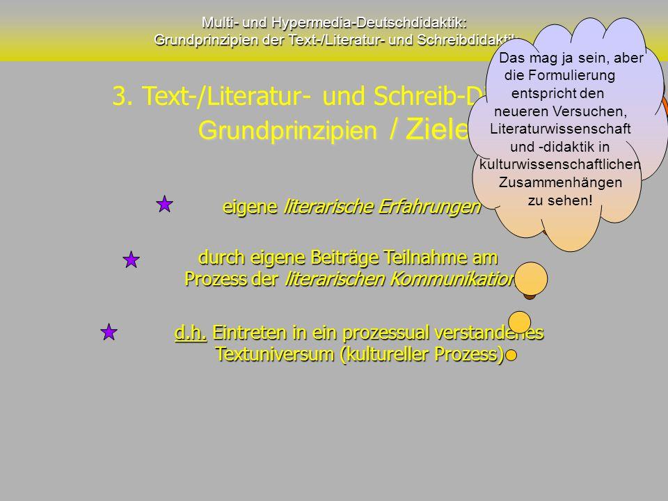 Multi- und Hypermedia-Deutschdidaktik: Grundprinzipien der Text-/Literatur- und Schreibdidaktik eigene literarische Erfahrungen durch eigene Beiträge