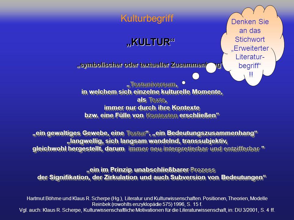 Kulturbegriff Hartmut Böhme und Klaus R. Scherpe (Hg.), Literatur und Kulturwissenschaften. Positionen, Theorien, Modelle Reinbek (rowohlts enzyklopäd