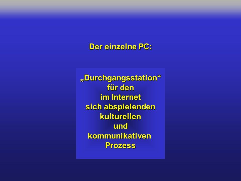 Der einzelne PC: Durchgangsstation für den im Internet sich abspielenden kulturellenundkommunikativenProzess