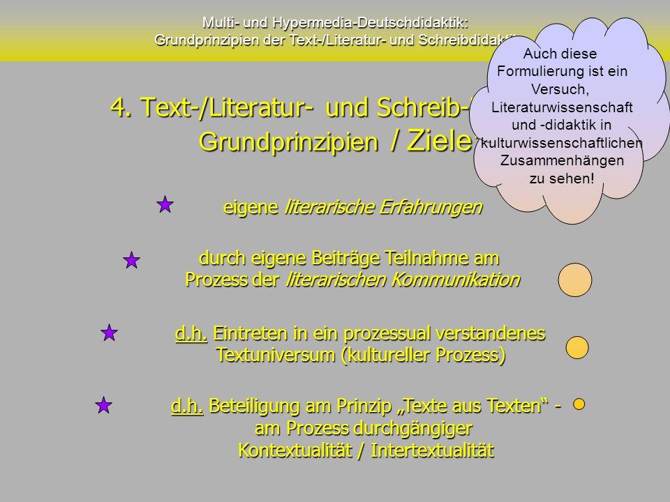 4. Text-/Literatur- und Schreib-Didaktik Grundprinzipien / Ziele: 4. Text-/Literatur- und Schreib-Didaktik Grundprinzipien / Ziele: Multi- und Hyperme