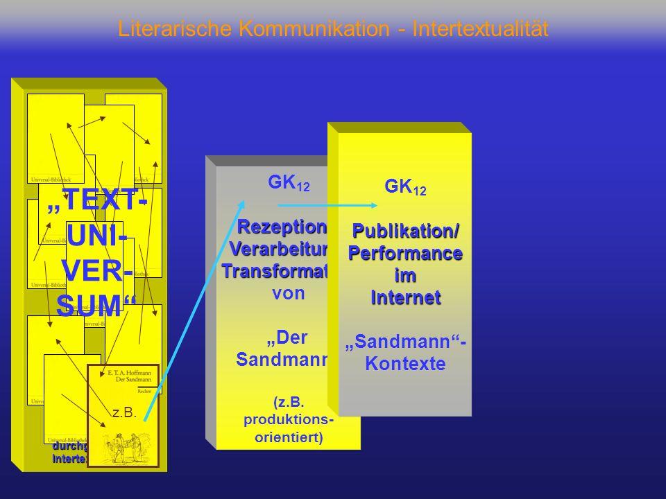 Literarische Kommunikation - Intertextualität GK 12 Rezeption + Verarbeitung/Transformation von Der Sandmann (z.B. produktions- orientiert) GK 12Publi