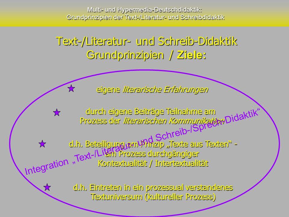 Text-/Literatur- und Schreib-Didaktik Grundprinzipien / Ziele: Text-/Literatur- und Schreib-Didaktik Grundprinzipien / Ziele: Multi- und Hypermedia-De