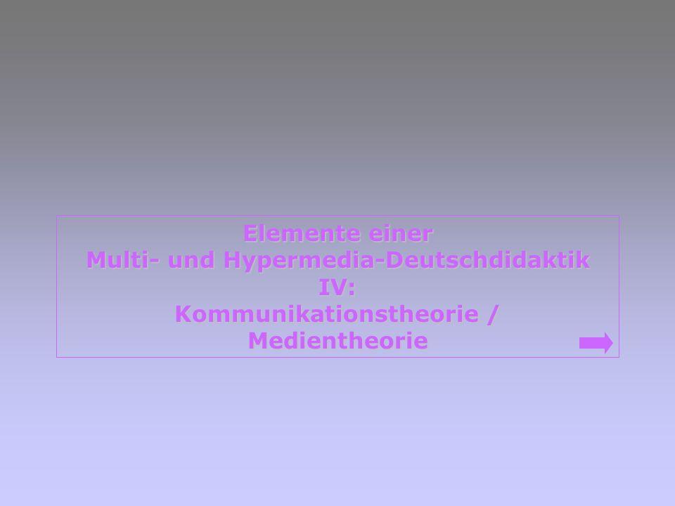 Elemente einer Elemente einer Multi- und Hypermedia-Deutschdidaktik Multi- und Hypermedia-Deutschdidaktik IV: Kommunikationstheorie / Kommunikationsth