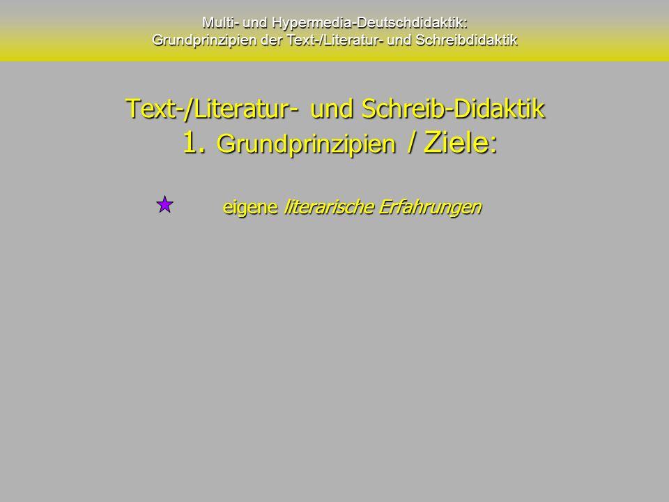 Text-/Literatur- und Schreib-Didaktik 1. Grundprinzipien / Ziele: Text-/Literatur- und Schreib-Didaktik 1. Grundprinzipien / Ziele: Multi- und Hyperme