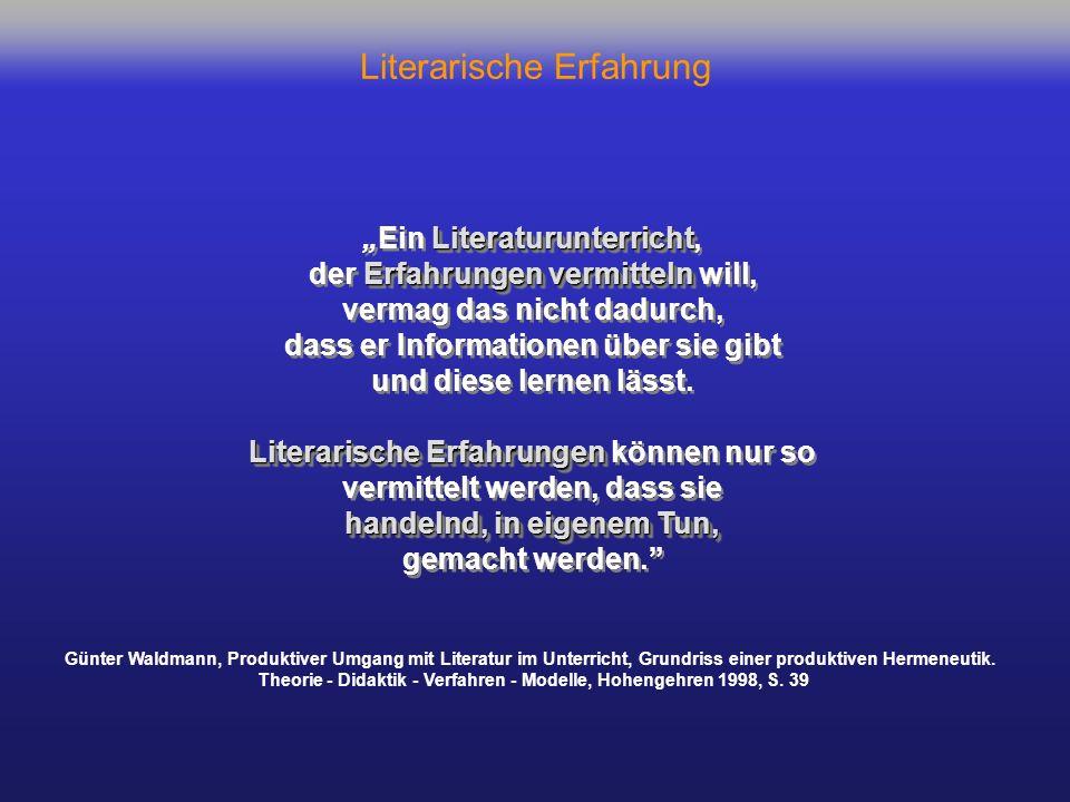 Literarische Erfahrung als Differenzerfahrung L e s e r I n SELBST-REFLEXION / T e x t : Personen/Ort/Zeit z.B.ErzählerIn z.B.ErzählerInAutorIn FREMD-WAHRNEHMUNG / Mit-LeserInnen GESPRÄCH: KONSENS / DISSENS DIALOG DIALOG DIALOG Kontexte / Diskurse Diskurse FREMD-ERFAHRUNG SELBST-ERFAHRUNG FREMD-ERFAHRUNG 2 unterschiedliche Diskurse VER-STE-HEN.