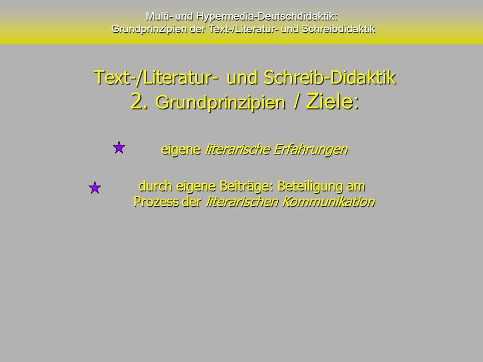 Text-/Literatur- und Schreib-Didaktik 2. Grundprinzipien / Ziele: Text-/Literatur- und Schreib-Didaktik 2. Grundprinzipien / Ziele: Multi- und Hyperme
