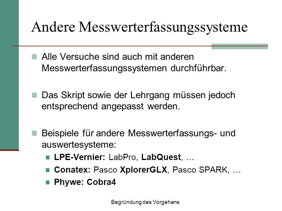 Andere Messwerterfassungssysteme Alle Versuche sind auch mit anderen Messwerterfassungssystemen durchführbar. Das Skript sowie der Lehrgang müssen jed