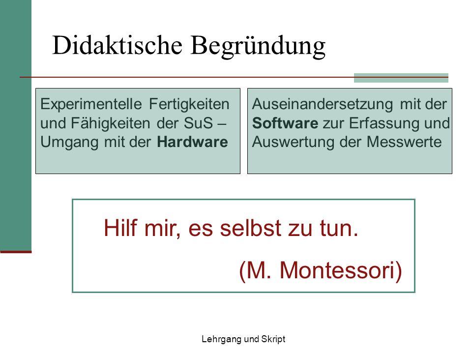 Didaktische Begründung Hilf mir, es selbst zu tun. (M. Montessori) Auseinandersetzung mit der Software zur Erfassung und Auswertung der Messwerte Expe