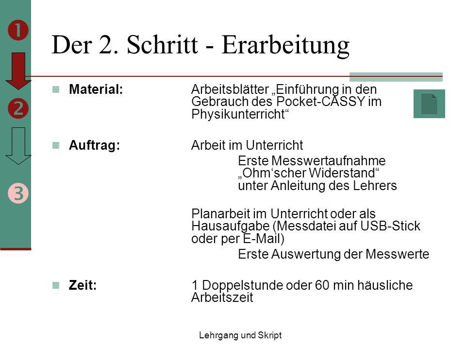 Der 2. Schritt - Erarbeitung Material: Arbeitsblätter Einführung in den Gebrauch des Pocket-CASSY im Physikunterricht Auftrag:Arbeit im Unterricht Ers