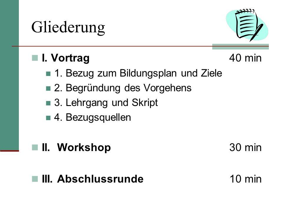 Gliederung I. Vortrag40 min 1. Bezug zum Bildungsplan und Ziele 2. Begründung des Vorgehens 3. Lehrgang und Skript 4. Bezugsquellen II. Workshop30 min