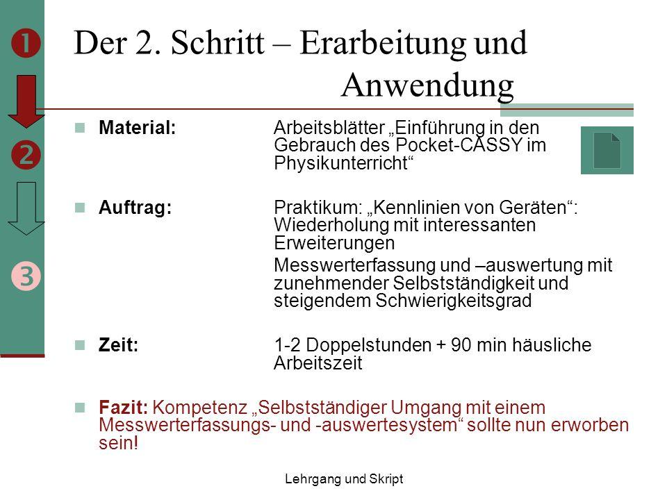 Der 2. Schritt – Erarbeitung und Anwendung Material: Arbeitsblätter Einführung in den Gebrauch des Pocket-CASSY im Physikunterricht Auftrag: Praktikum