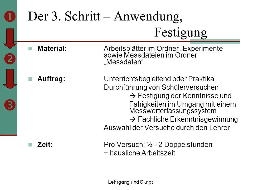 Der 3. Schritt – Anwendung, Festigung Material: Arbeitsblätter im Ordner Experimente sowie Messdateien im Ordner Messdaten Auftrag: Unterrichtsbegleit