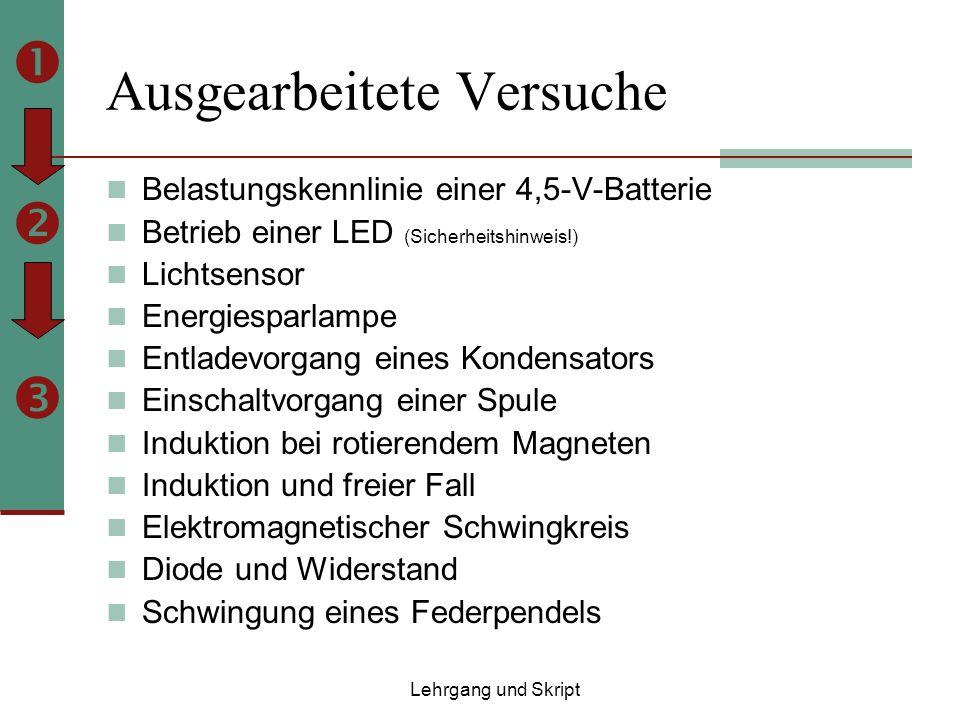 Ausgearbeitete Versuche Belastungskennlinie einer 4,5-V-Batterie Betrieb einer LED (Sicherheitshinweis!) Lichtsensor Energiesparlampe Entladevorgang eines Kondensators Einschaltvorgang einer Spule Induktion bei rotierendem Magneten Induktion und freier Fall Elektromagnetischer Schwingkreis Diode und Widerstand Schwingung eines Federpendels Lehrgang und Skript