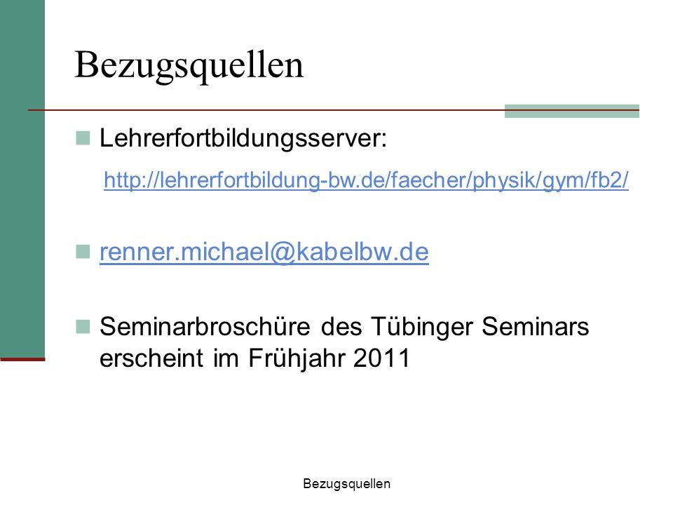 Bezugsquellen Lehrerfortbildungsserver: renner.michael@kabelbw.de Seminarbroschüre des Tübinger Seminars erscheint im Frühjahr 2011 Bezugsquellen http
