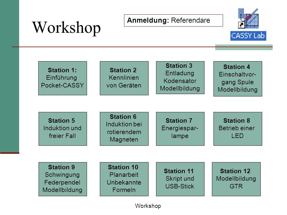 Workshop Anmeldung: Referendare Station 1: Einführung Pocket-CASSY Station 2 Kennlinien von Geräten Station 3 Entladung Kodensator Modellbildung Stati