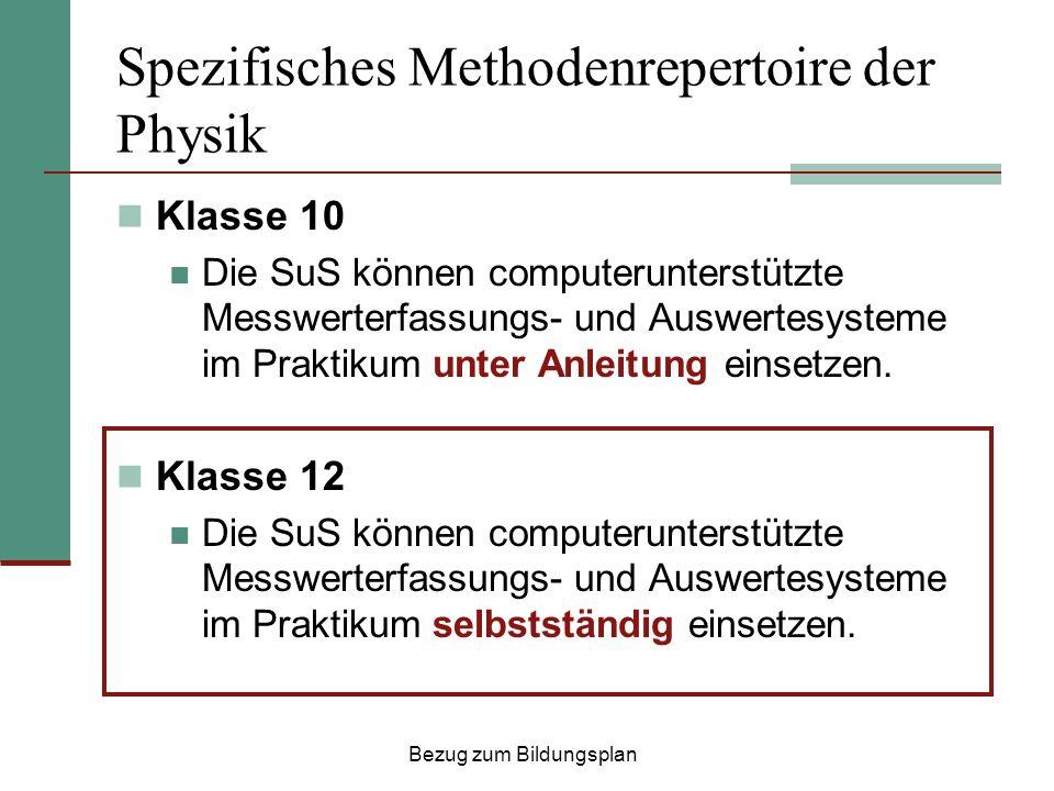 Spezifisches Methodenrepertoire der Physik Klasse 10 Die SuS können computerunterstützte Messwerterfassungs- und Auswertesysteme im Praktikum unter Anleitung einsetzen.