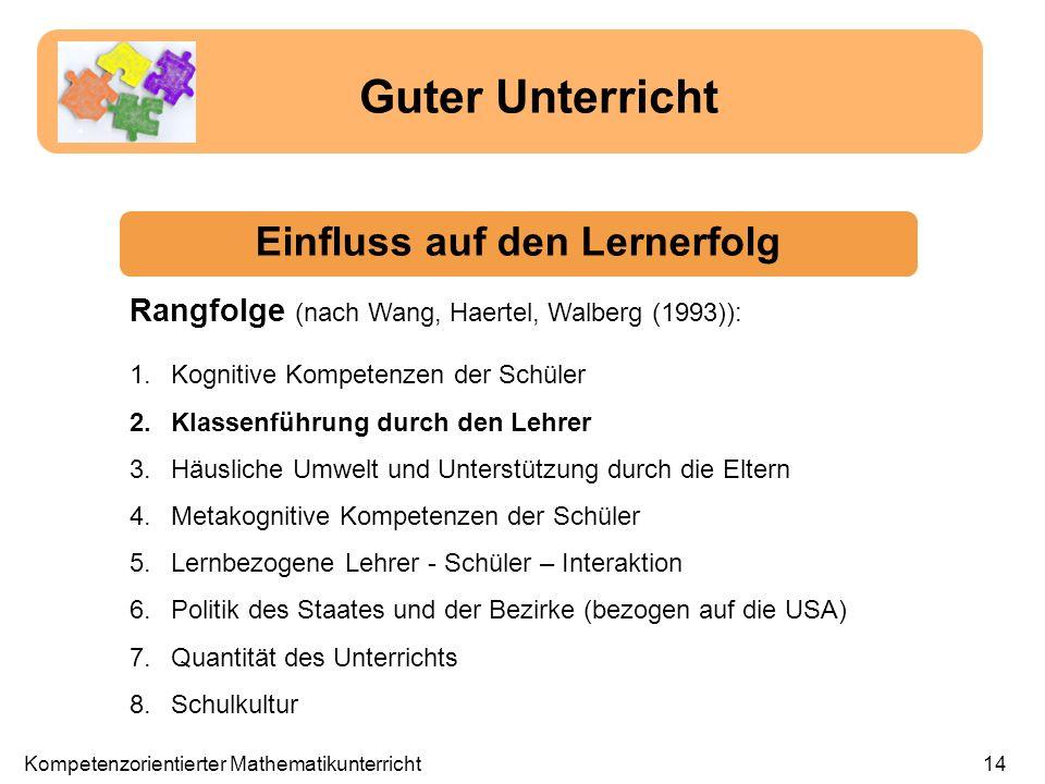 Guter Unterricht Einfluss auf den Lernerfolg Rangfolge (nach Wang, Haertel, Walberg (1993)): Kompetenzorientierter Mathematikunterricht14 1.Kognitive