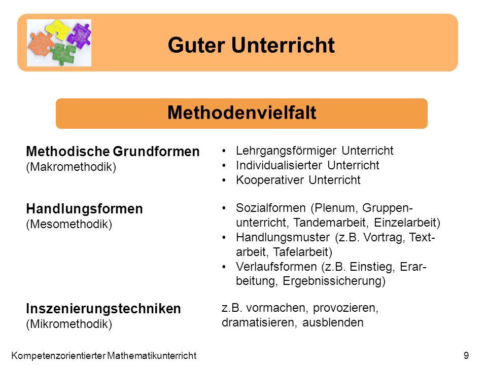 Guter Unterricht Methodenvielfalt Methodische Grundformen (Makromethodik) Lehrgangsförmiger Unterricht Individualisierter Unterricht Kooperativer Unte