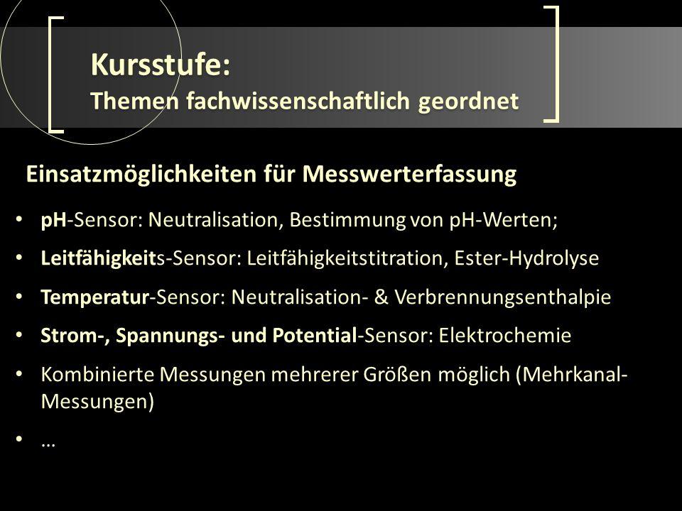 Kursstufe: Themen fachwissenschaftlich geordnet pH-Sensor: Neutralisation, Bestimmung von pH-Werten; Leitfähigkeits-Sensor: Leitfähigkeitstitration, E