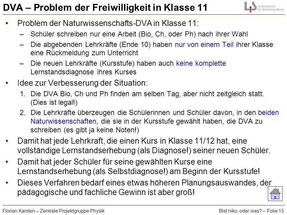Bist niko, oder was? – Folie 15Florian Karsten – Zentrale Projektgruppe Physik DVA – Problem der Freiwilligkeit in Klasse 11 Problem der Naturwissensc