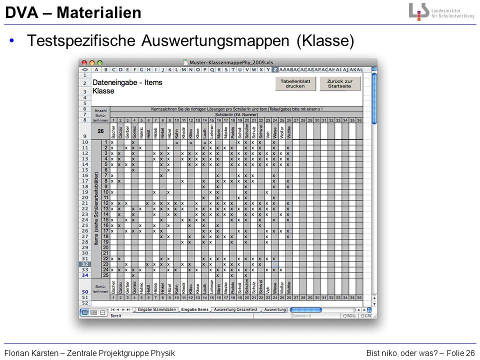 Bist niko, oder was? – Folie 26Florian Karsten – Zentrale Projektgruppe Physik DVA – Materialien Testspezifische Auswertungsmappen (Klasse)