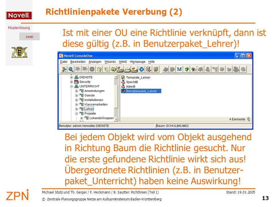 © Zentrale Planungsgruppe Netze am Kultusministerium Baden-Württemberg Musterlösung Stand: 19.01.2005 13 Michael Stütz und Th. Geiger / F. Heckmann /