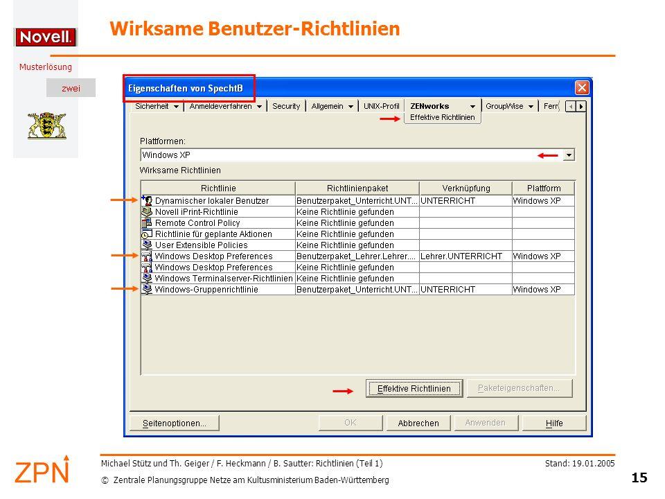 © Zentrale Planungsgruppe Netze am Kultusministerium Baden-Württemberg Musterlösung Stand: 19.01.2005 15 Michael Stütz und Th. Geiger / F. Heckmann /