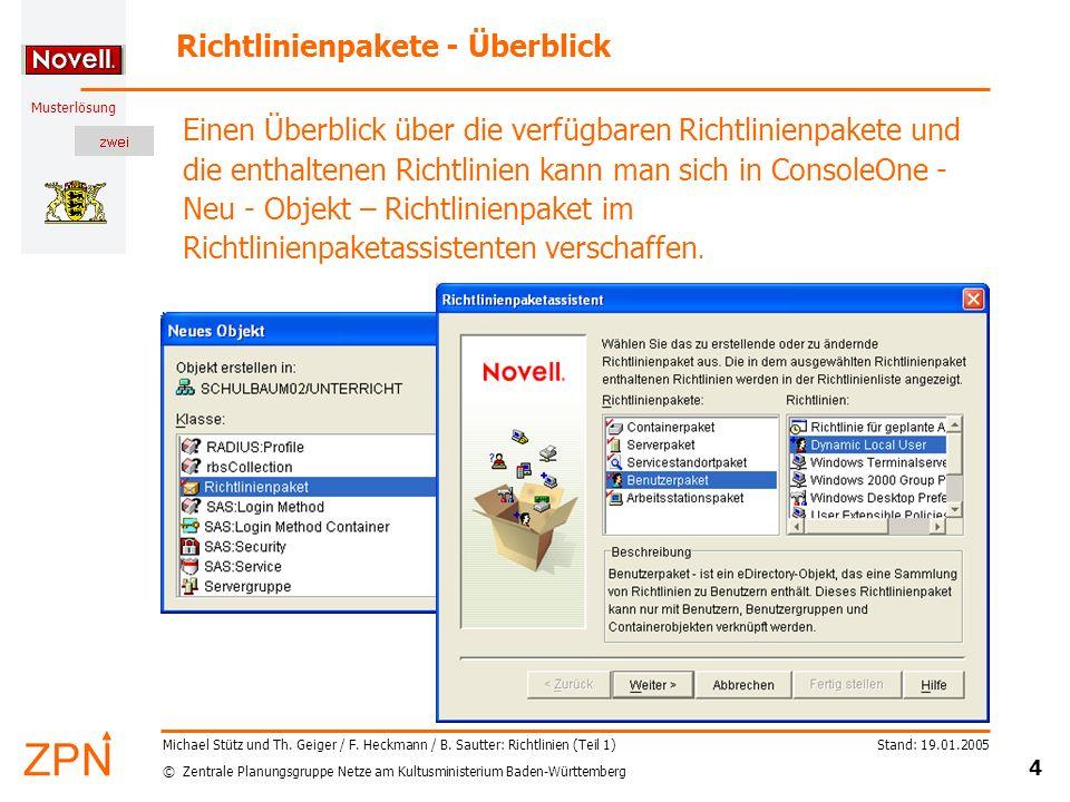 © Zentrale Planungsgruppe Netze am Kultusministerium Baden-Württemberg Musterlösung Stand: 19.01.2005 5 Michael Stütz und Th.