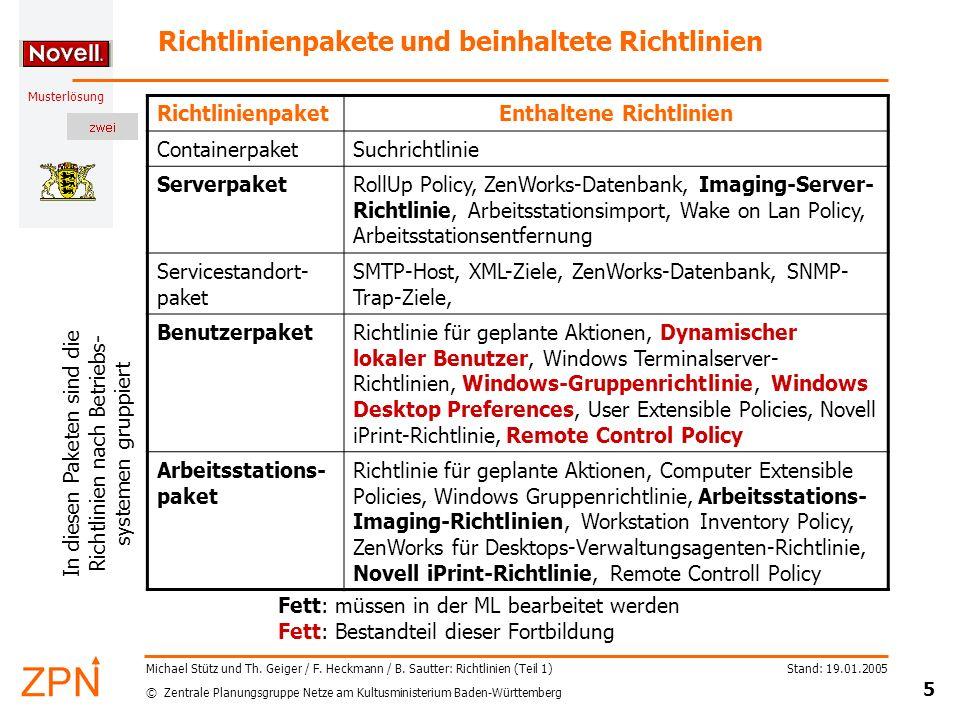 © Zentrale Planungsgruppe Netze am Kultusministerium Baden-Württemberg Musterlösung Stand: 19.01.2005 5 Michael Stütz und Th. Geiger / F. Heckmann / B