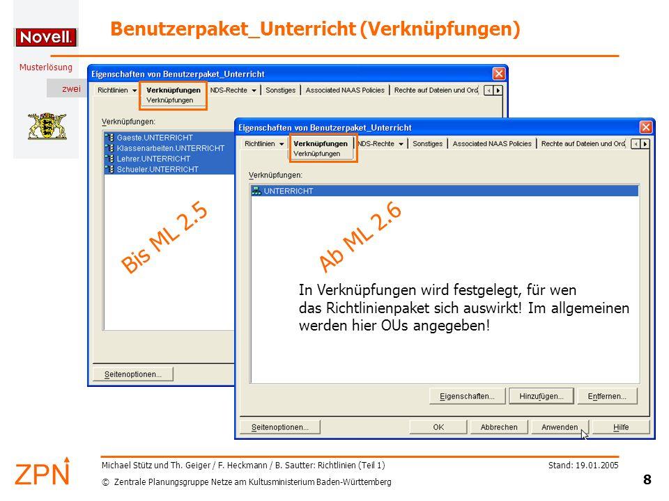 © Zentrale Planungsgruppe Netze am Kultusministerium Baden-Württemberg Musterlösung Stand: 19.01.2005 8 Michael Stütz und Th. Geiger / F. Heckmann / B