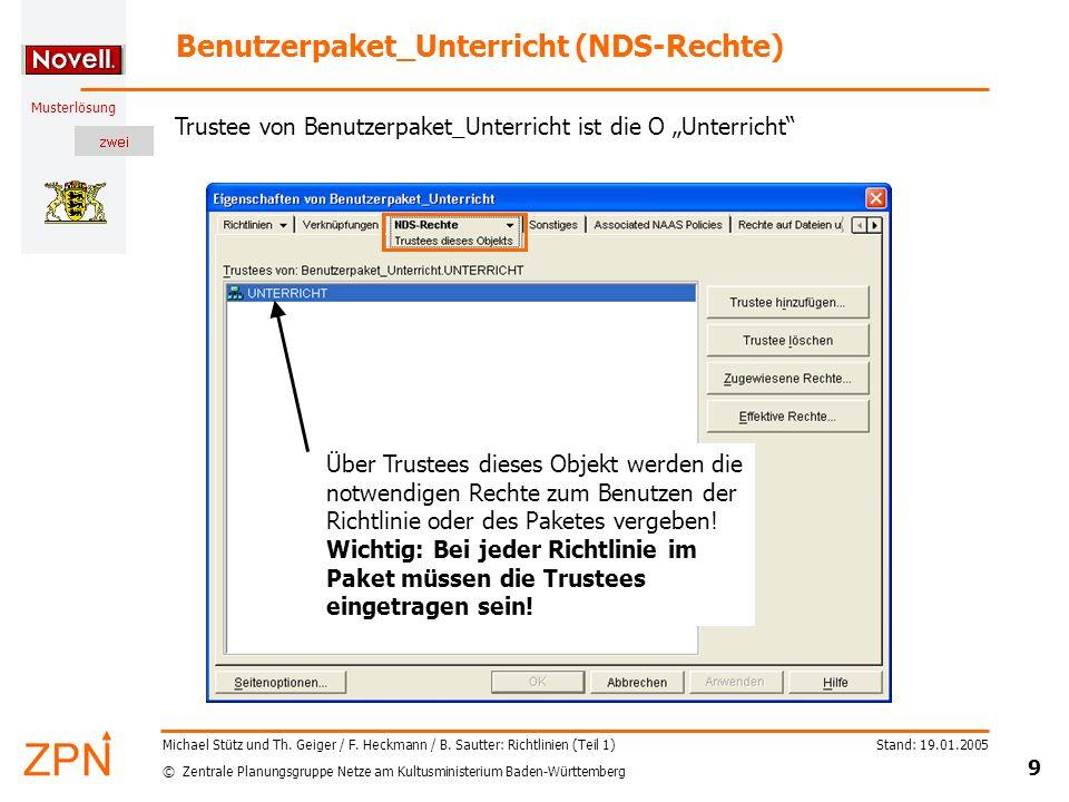 © Zentrale Planungsgruppe Netze am Kultusministerium Baden-Württemberg Musterlösung Stand: 19.01.2005 9 Michael Stütz und Th. Geiger / F. Heckmann / B